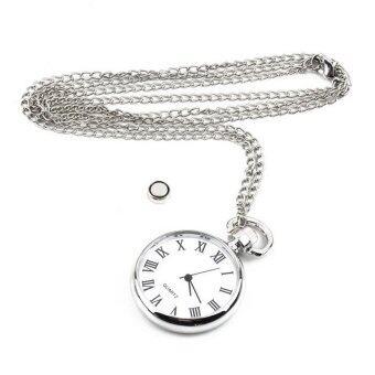 อ๋อสีขาวโบราณนาฬิกาควอทซ์หน้าปัดกลมสร้อยคอกระเป๋าเงินโซ่จี้