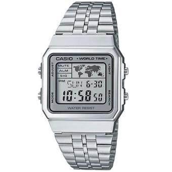 CASIO Standard นาฬิกาข้อมือผู้ชาย สีเงิน สายสแตนเลส รุ่น A500WA-7DF