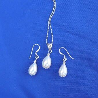 Diva Designs เซทสร้อยคอมุก กำไล ต่างหู Genuine Silver Freshwater Pearl Necklace Earring Set Rhodium Plated Chain