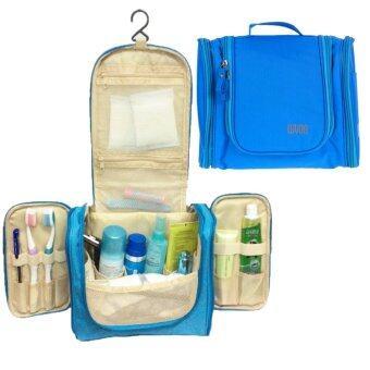 TravelGear24 Travel Check Bag กระเป๋าจัดระเบียบ กระเป๋าจัดเก็บอุปกรณ์ในห้องน้ำ กระเป๋าเครื่องสำอาง แบบมีด้านข้าง Travel Toiletry Bag Cosmetic Makeup Storage (Blue/ฟ้า)