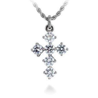 555jewelry จี้รูปไม้กางเขน ประดับด้วย CZ รุ่น MNC-P037-A (Steel/White)