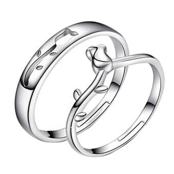 แฟชั่นเงินชุบรักดอกไม้เปิดงานแต่งงานคู่แหวนปรับได้