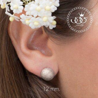 555jewelry ต่างหู สแตนเลสสตีล - ต่างหูแบบก้านเสียบผิวทรายระยิบ (สี - สตีล) รุ่น MNC-ER561-A