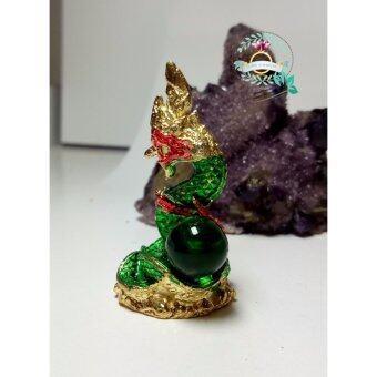 hindd พญานาค ลงยา ประดับลูกแก้วมณีใต้น้ำ(สีเขียว)