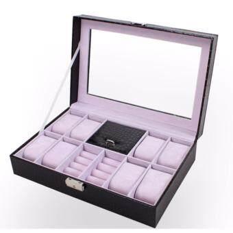 FancyBox ตู้นาฬิกาไม้บุหนัง ฝากระจก สีดำลายหนังจระเข้ ใส่นาฬิกา 8 เรือน + กล่องใส่เครื่องประดับ ใส่แหวน