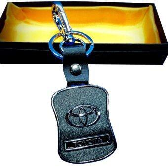 Toyota พวงกุญแจเงิน+หนัง Quality Waist-shaped logo TOYOTA สีดำ