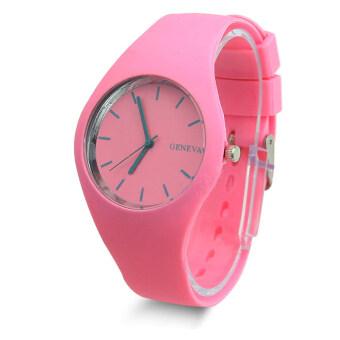 สาวน่ารักแข็งแรงสายซิลิโคนเจลสีหญิงสาวธรรมดา ๆ ผลึกกีฬานาฬิกาข้อมือ-สีชมพู