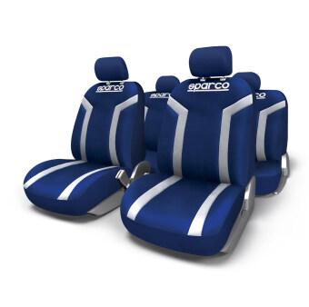 HC Sparco ผ้าหุ้มเบาะ รุ่น SPC1010 - สีฟ้าลายขาว (ชุด 4 ชิ้น)