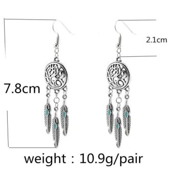 Harga Vintage Tribal Feathers Antique Silver Turquoise Dream Catcher Dangle Earrings - intl