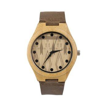 Allwin นาฬิกาโบราณนาฬิกาไม้รูปแบบมนุษย์ผู้หญิงหมุนนาฬิกาสามสี่เหลี่ยมขนมเปียกปูนสีน้ำตาล