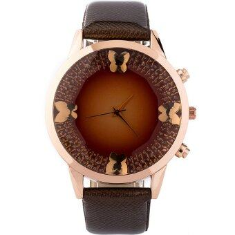 MEGA Top Luxury Crystal Butterfly Dial Leather Watchband Casual Quartz Dress Wristwatch หรูหรานาฬิกาข้อมือ สายหนัง กันน้ำ รุ่น MG0023 (Brown)