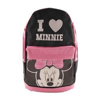 Disney Minnie Mouse กระเป๋าเป้ กระเป๋านักเรียน สะพายหลัง (สีดำคาดชมพู)