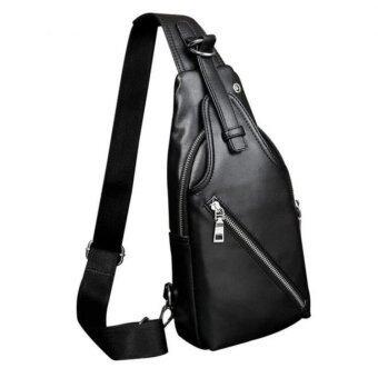TravelGear24-กระเป๋าคาดอก กระเป๋าสะพาย กระเป๋าคาดอก PU กระเป๋าแฟชั่นผู้ชาย Crossbody Bag Men Fashion Bag PU (Black/สีดำ)