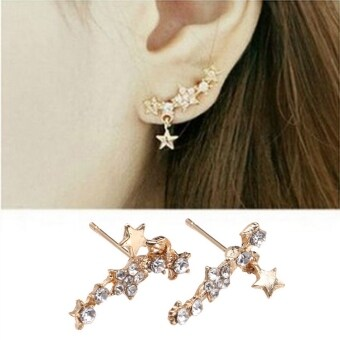Sunwondoer New Women Ladies 1 Pair Earring Star Resin Rhinestone Decor Pierced Ear Jewelry Ear Stud(Golden)