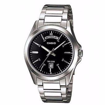 Casio Standard นาฬิกาข้อมือผู้ชาย สีดำ สายสแตนเลส รุ่น MTP-1370D-1A1VDF