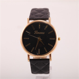 นาฬิกาสายหนังคลาสสิคที่เจนีวาผู้หญิงแฟชั่นนาฬิกาควอทซ์ (สีดำ)