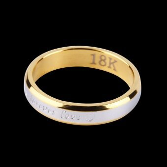 Allwin รักกันตลอดไปคู่รักคู่แฟชั่นแหวนแหวนเพชรนิ้วโลหะ (ทอง)