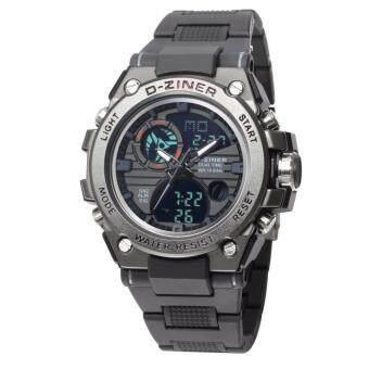 D-ZINER นาฬิกาข้อมือชาย 2 ระบบ ขีดชั่วโมง,เข็มสีดำ สายพลาสติก (สีดำ)