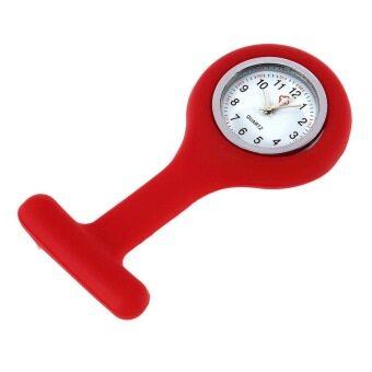 โอมินิแบบพกพาเจลซิลิโคนหมอพยาบาลกระเป๋าเข็มกลัดเสื้อกางเกงนาฬิกา (สีแดง)