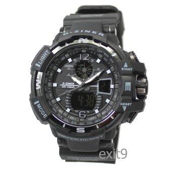D-ZINER นาฬิกาข้อมือผู้ชาย สายซิลิโคนรุ่น DZ-8068 (ดำ-ขอบเทา)