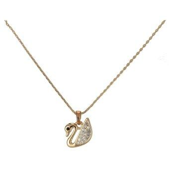 Harga One Zero One Living Memory Floating Charms gold plated swan setting diamond trendy pendant Necklace for honey lover - Intl