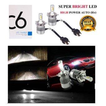 LED ไฟหน้ารถยนต์ SUPER BRIGHT 6000K รุ่น C6 ไฟหน้า LED รถยนต์ ขั้ว H4 Hi/Lo แสงสีขาว 6000k ระบบ AUTO LED พร้อมชุดบัลลาร์ด (H4)
