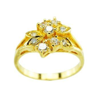 Tfine แหวนเพชรจิกดอกไม้ชุบทอง
