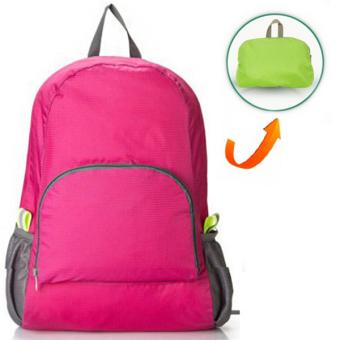 RICHCOCO กระเป๋าเป้ ไนล่อนกันน้ำ พับเก็บได้ สีชมพู