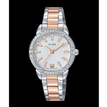 ALBA นาฬิกาข้อมือผู้หญิง สีเงิน/พิงค์โกล สายสแตนเลส รุ่น AG8H03X1
