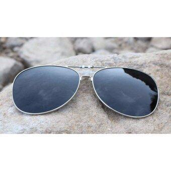 แว่นตากันแดดแบบคลิปออนติดแว่น ทรงนักบิน(Aviator) เลนส์คุณภาพโพลาไรซ์ + UV400 Protection
