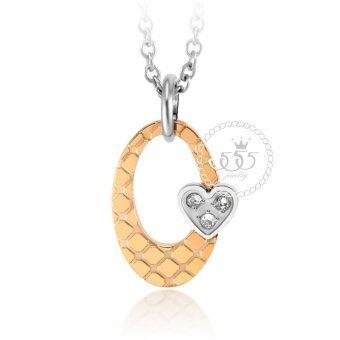 555jewelry จี้ พร้อมสร้อย ประดับ CZ และหัวใจดวงเล็กน่ารัก รุ่น MNP-105G-C (สี พิ้งโกลด์-สตีลเงิน) จี้พร้อมสร้อยคอ จี้ผู้หญิง