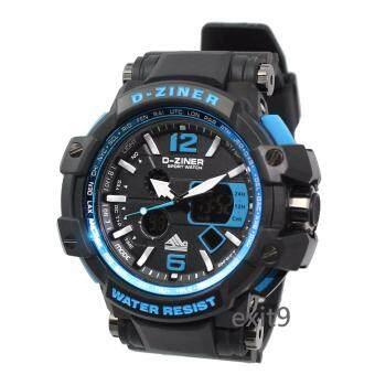 D-ZINER นาฬิกาข้อมือผู้ชาย สายซิลิโคน รุ่นDZ-8090 (ดำ)ขอบน้ำเงิน