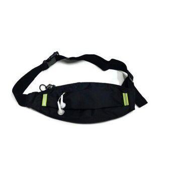 Lotte กระเป๋าแนบตัว ผ้าลาย samsonite พร้อมช่องลอดหูฟัง สายชาร์จ - สีดำ