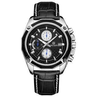 MEGIR นาฬิกาข้อมือหนังแท้รัดร่างสุดยอดนาฬิกาควอทซ์คล้ายคลึงกับปฏิทิน และย่อยกด