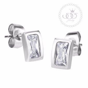 555jewelry ต่างหูสตั๊ดรูปสี่เหลี่ยมผืนผ้าฝังเพชรCZสีขาวสวยเป็นประกาย รุ่น MNC-ER729-A (ER1)
