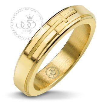 555jewelry แหวนดีไซน์เรียบลายไม้กางเขน สี ทอง รุ่น MNR-367T-B - แหวนเรียบ ดีไซน์แบบ unisex สแตนเลสสตีล