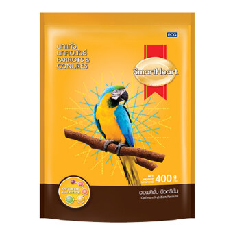 SmartHeart Parrots & Conures Bird Food 400g สมาร์ทฮาร์ท อาหาร นกแก้ว นกคอนัวร์ นกปากขอ และนกสายพันธุ์ใกล้เคียงอื่นๆ สูตรออพติมั่ม นิวทริชั่น 400กรัม