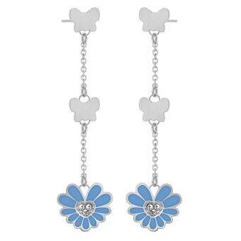 555jewelry ต่างหู สแตนเลสสตีล รูปผีเสื้อกับดอกไม้สีฟ้าสดใส (สี - ฟ้า/สตีล) รุ่น MNER-019G-E