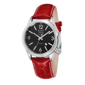Harga CCCP SHCHUKA CP-7010-02 Men's Red Genuine Leather Strap Watch - intl