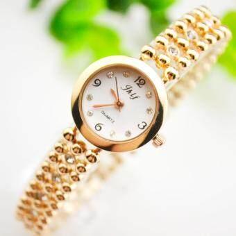 KPshop นาฬิกาผู้หญิงสแตนเลส นาฬิกาข้อมือแฟชั่น นาฬิกาผู้หญิงนิยม รุ่น LC-029 (สีทอง)