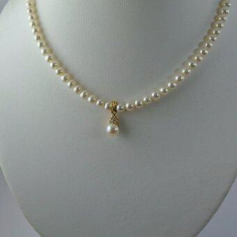 Pearl Jewelry สร้อยคอมุกน้ำจืดแท้ 5 มิล พร้อมจี้่มุก
