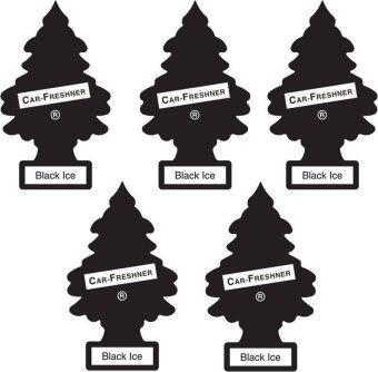 Little Trees แผ่นน้ำหอมปรับอากาศ รูปต้นไม้ กลิ่น Black Ice (5 ชิ้น)