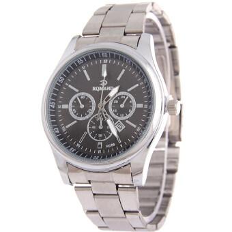 MEGA Calendar Wristwatch ปฏิทินนาฬิกาข้อมือผู้หญิง-ชาย สาย Stainless รุ่น MG0005 (Silver/Black)