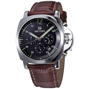 ชายเสื้อยี่ห้อ Megir นาฬิกาโครโนกราฟนาฬิกาหรูหนังทหาร (สีน้ำตาลกับสีดำ)