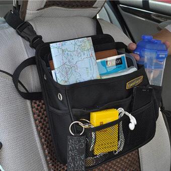 รถยนต์นั่งรถไปเรียบร้อย Multiuse เหวี่ยงกระเป๋าถือคนออแกไนเซอร์พาหนะเรือนั่งเรียบร้อยเก็บแขวนกระเป๋าถือกระเป๋าโทรศัพท์มือถือนิตยสาร (สีดำ)