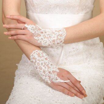 Harga Elegant Short Fingerless Pearl Lace Gloves Bride Wedding Party Costume