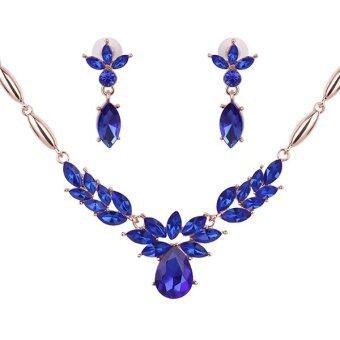 Bluelans หญิงจี้สร้อยคอต่างหูพลอยเครื่องประดับดอกไม้ชุดอัลลอยด์สีน้ำเงิน
