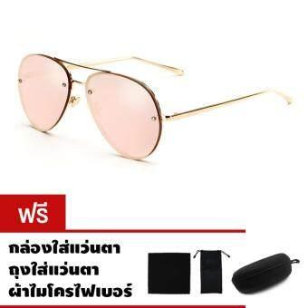 CAZP Sunglasses แว่นกันแดด ทรงนักบิน Classic Large Aviator Style รุ่น 3027 กรอบทอง/เลนส์ปรอทสีชมพู (Gold/Mirrored Pink) สวมใส่ได้ทั้งชายและหญิง 62mm