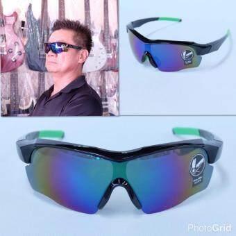 Hayashi -แว่นตาสำหรับปั่นจักรยาน แว่นตากันแดดเล่นกีฬาเลนส์สีเทา กรอบสีดำ - เขียว
