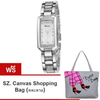 Kimio นาฬิกาข้อมือผู้หญิง สีเงิน/ขาว สายสแตนเลส รุ่น KW558 (แถมฟรี SZ. Shopping Bag คละลาย มูลค่า 250-)